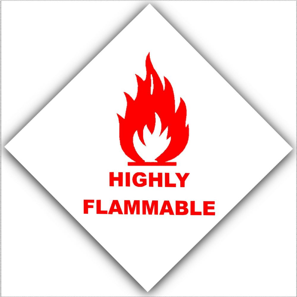 1 X Red On White Highly Flammable External Self Adhesive